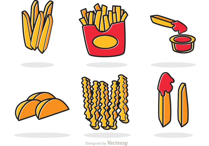 Set Of French Fries Vector