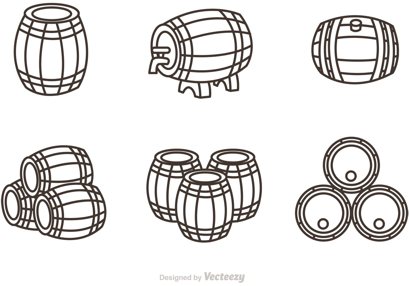 Whiskey Barrel Outline Icons Vector Download Free Vector