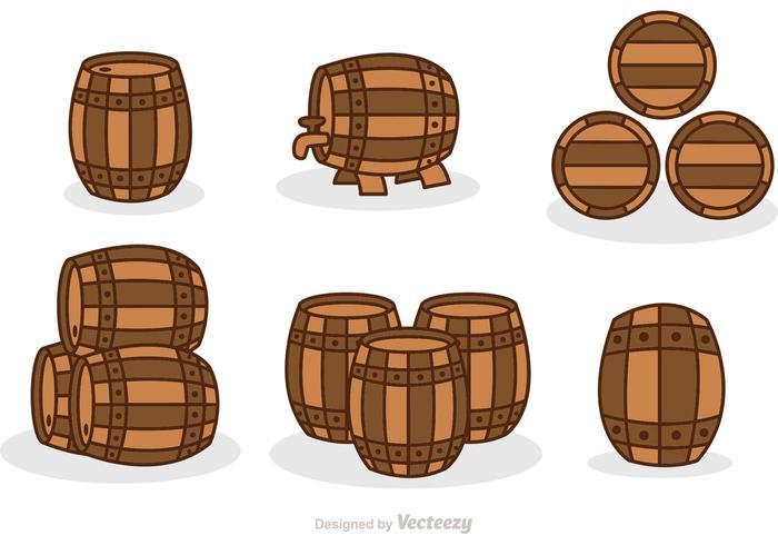 Whiskey Barrel Set Vector
