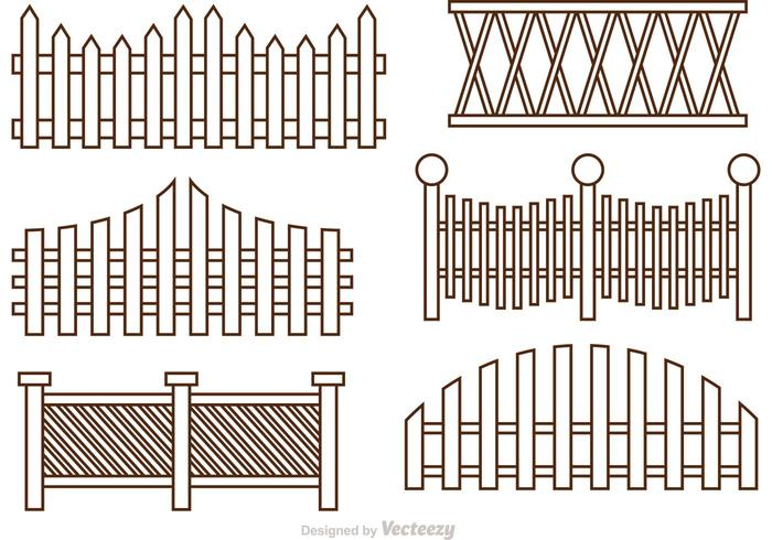 Fence Outline Icons Vector