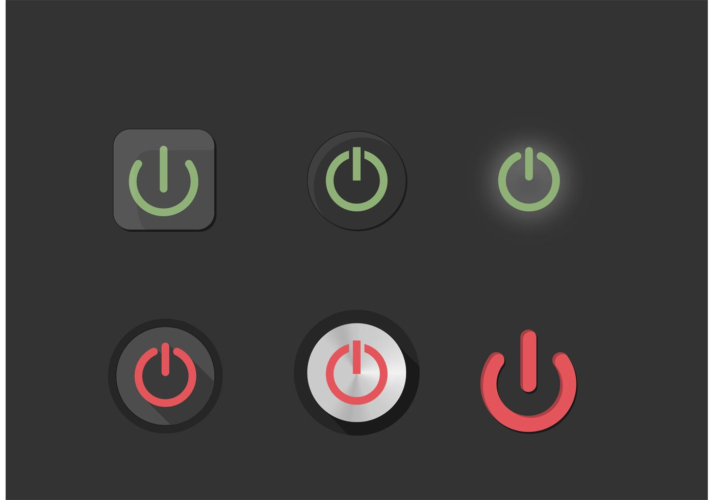 On Off Power Symbol Buttons Set Download Free Vector Art Stock