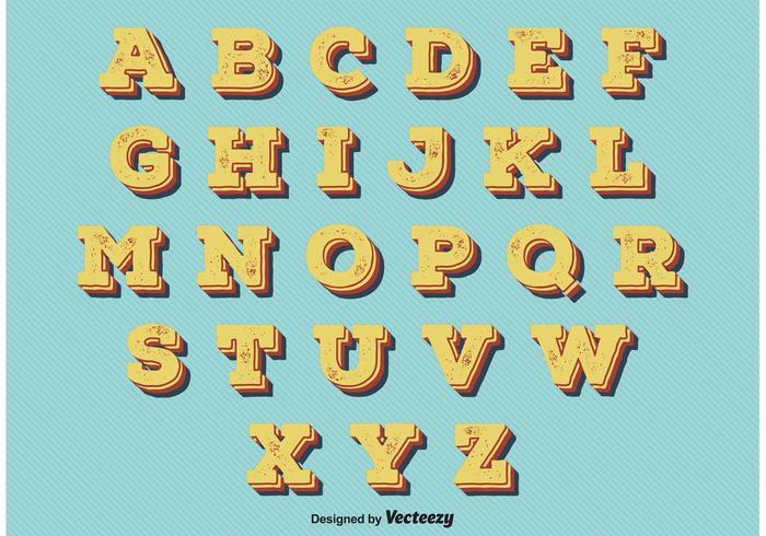 Vintage Retro Style Alphabet