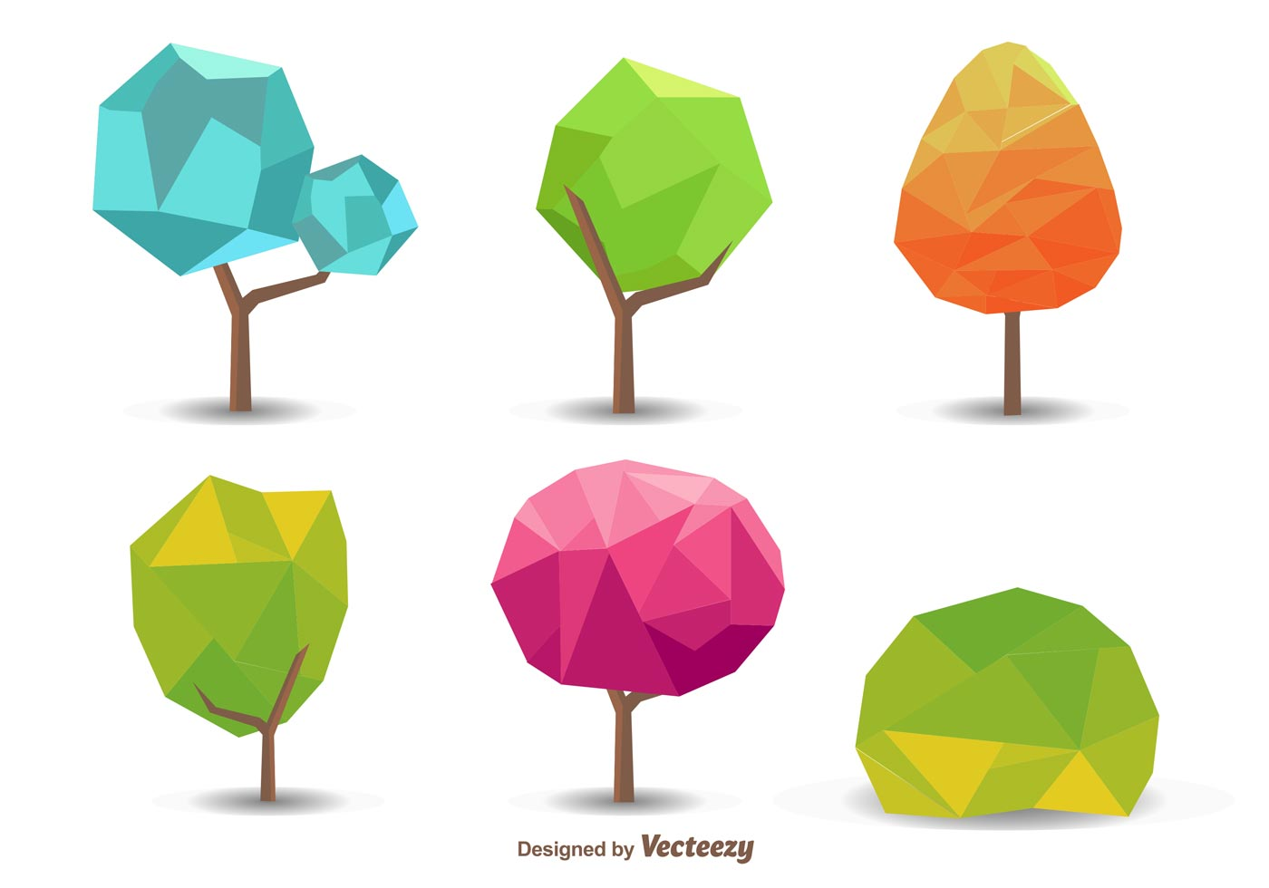 seasonal polygonal tree vectors download free vector art