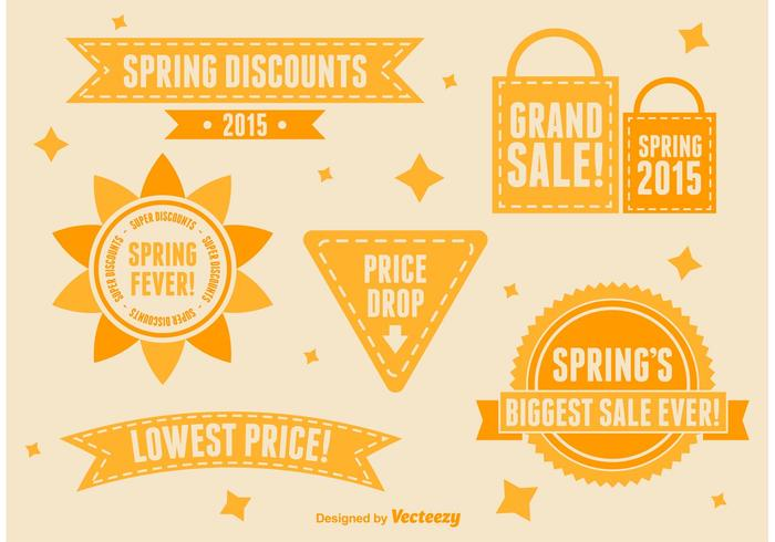 Spring and Summer Sale Sign Vectors