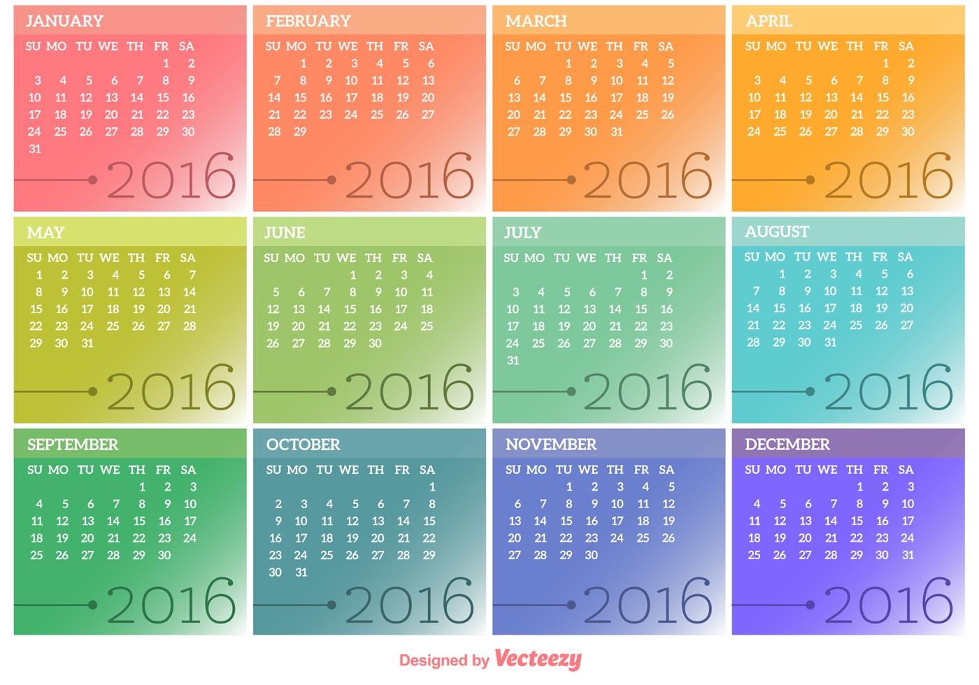 Vector Calendar 2016 - Download Free Vector Art, Stock Graphics ...