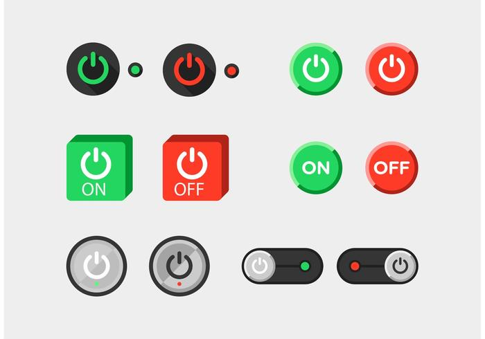 On Off Flat Vector Buttons