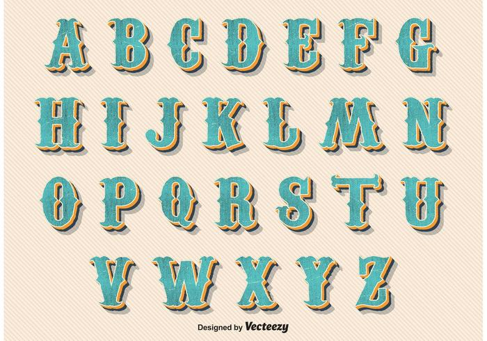 Weinlese-Retro Art-Alphabet