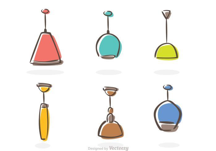 Modern Chandelier Icons Vector