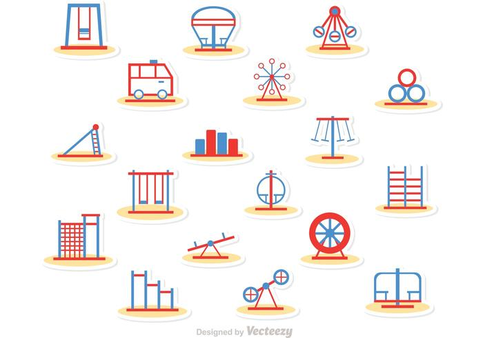 Simple Line Playground Icons Vector Pack