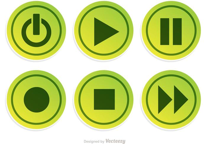 Media Plyer Green Button Vector