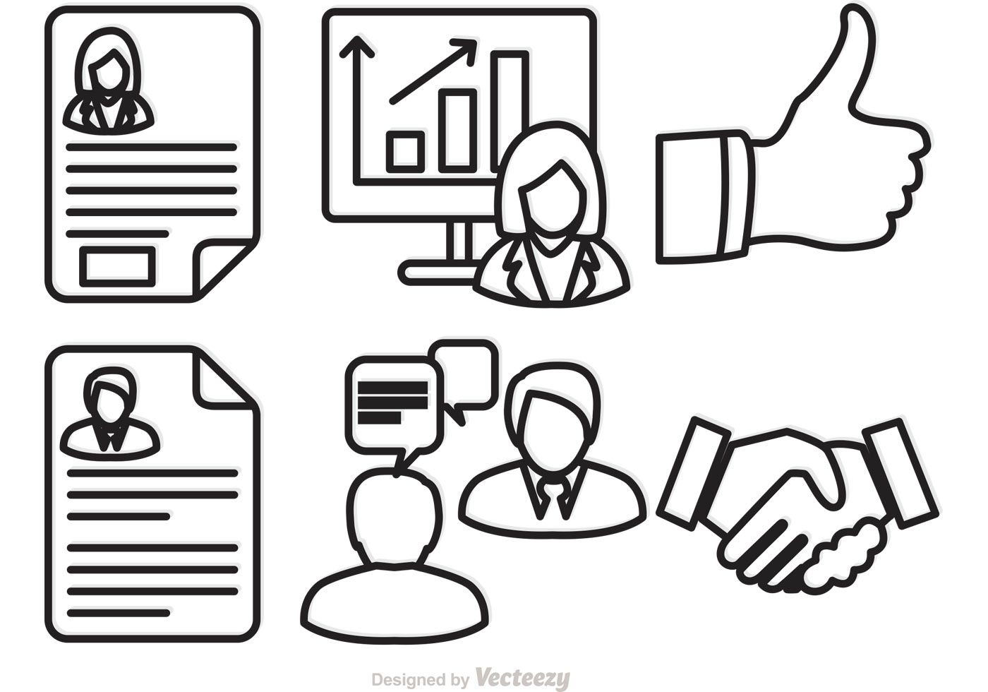 job interview icons vector