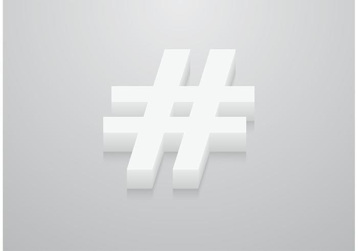 Free Vector 3D Hashtag