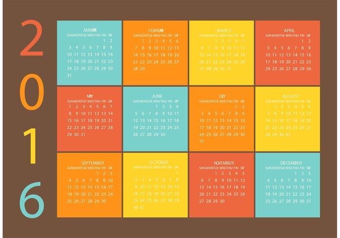 Grid Vector Calendar 2016