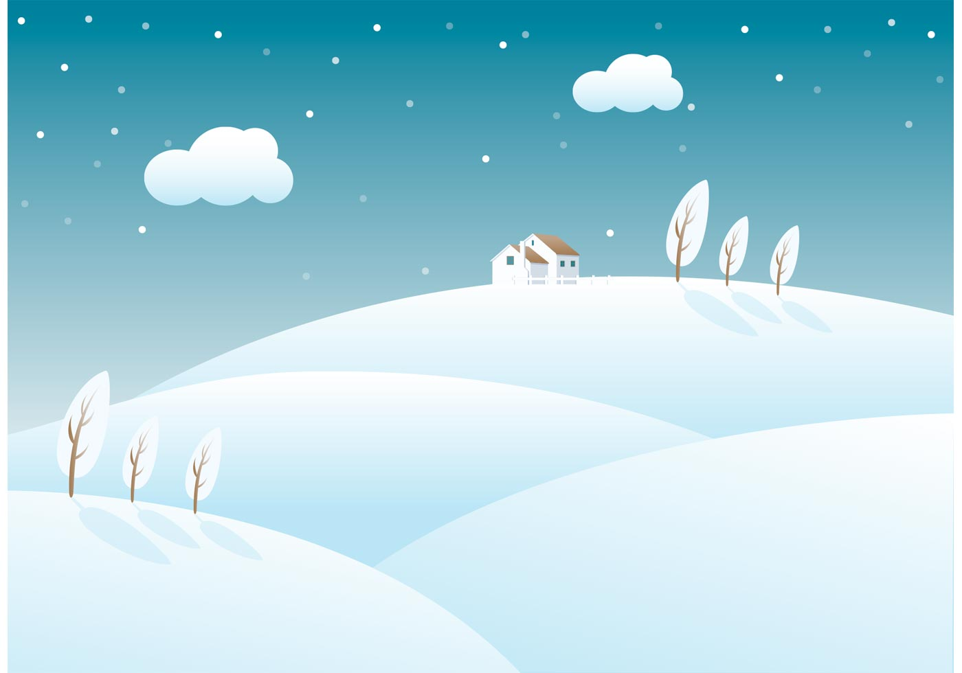 Free Snow Covered Rolling Hills Vector Download Free