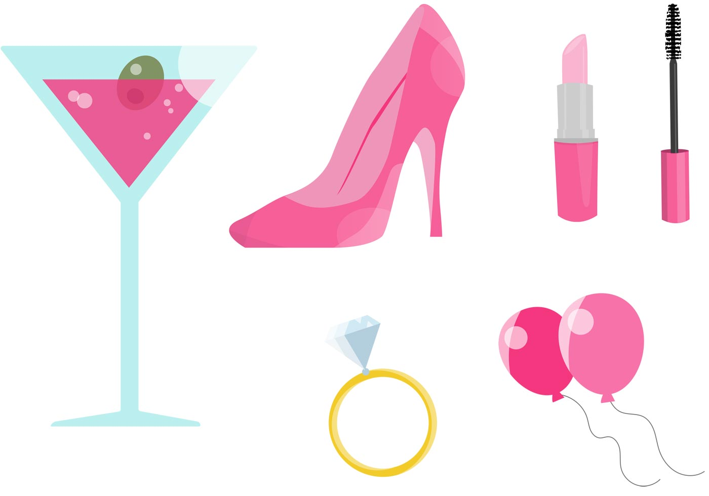 pink bachelorette party vectors download free vector art  stock graphics   images pink martini glass clip art Martini Glass Clip Art