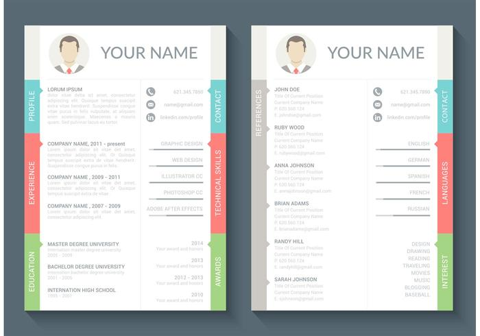 Free Curriculum Vitae Vector Template Download Free