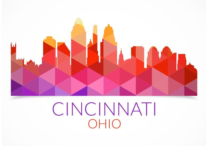 Free Abstract Colorful Cincinnati Skyline Vector