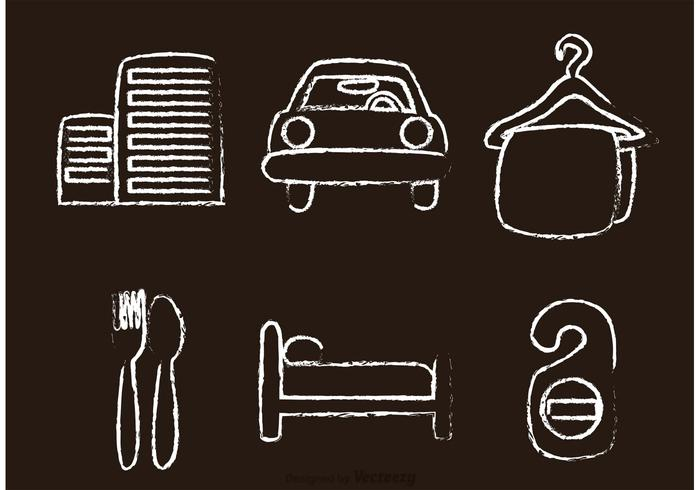 Chalk Drawn Hotel Icons Vectors