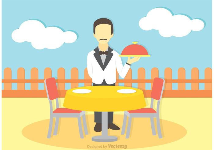 Illustration Of Waiter Vector