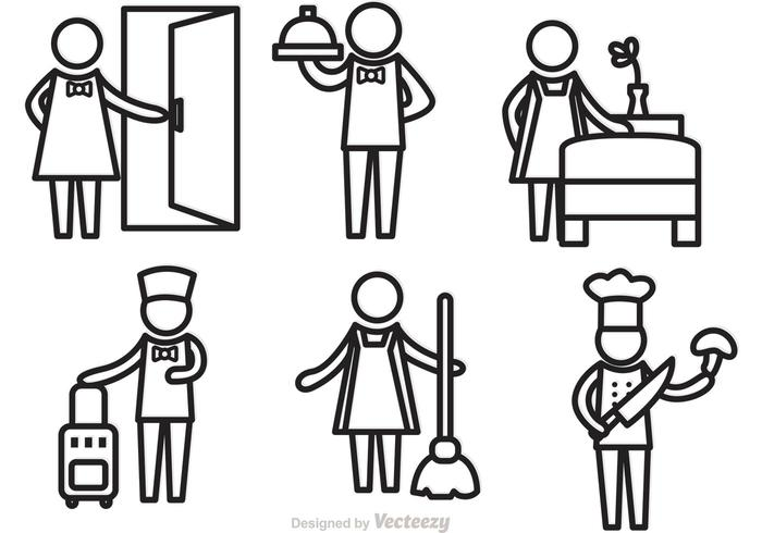 Hotel Service Outline Icons Vectors