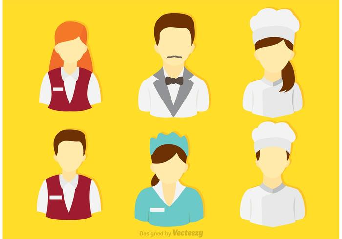 Set Of Restaurant and Hotel People Vectors