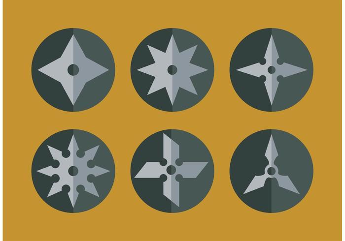 Flat Ninja Throwing Star Vectors