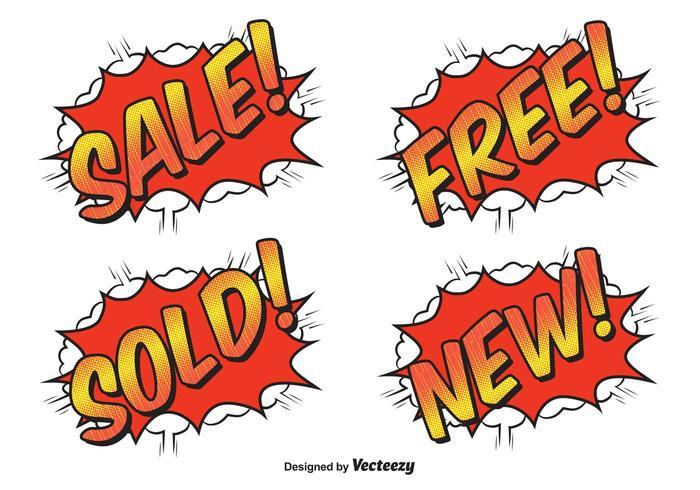 Comic Style Sale Labels