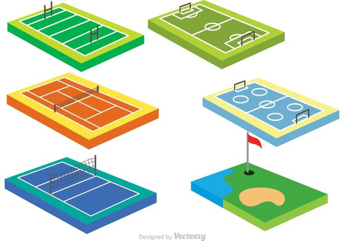 Collection Of 3D Sport Courts Vectors