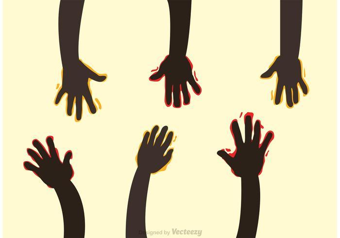 Raise Hands With Paint Vectors