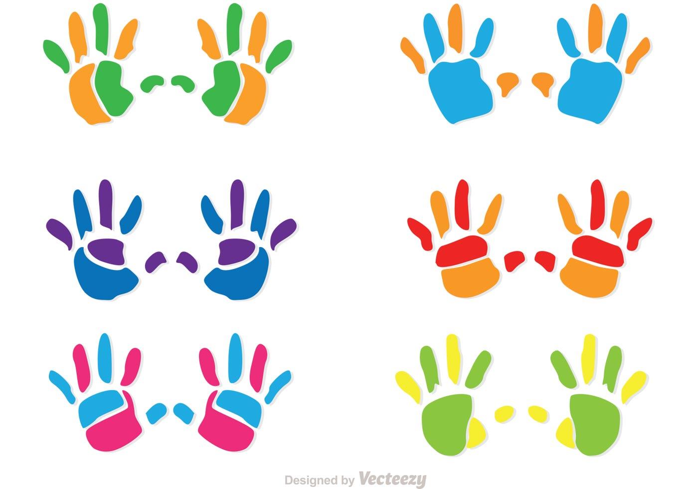 Colorful Child Handprint Vectors Download Free Vector