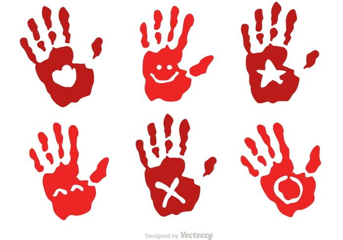 Child Handprint With Symbol Vectors
