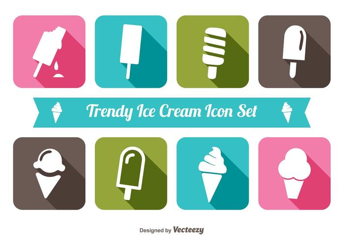 Trendy Ice Cream Icon Set