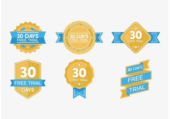 30 Days Free Trial Badge Vectors