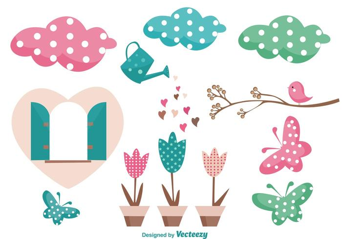 Cute Garden Vector Elements
