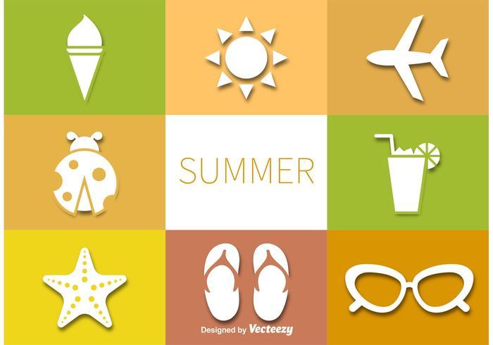 Conjunto de pictogramas de vetores de verão