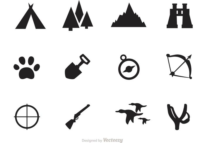 Camping And Hunting Icon Vectors