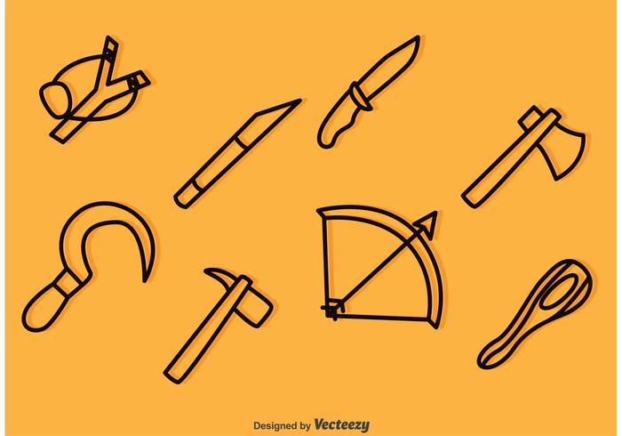 Weapon Outline Icons Vectors