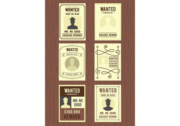 Wanted Old Poster Vectors