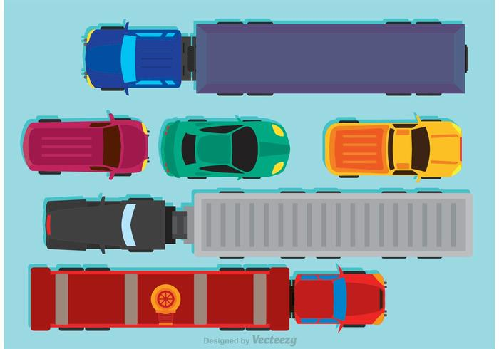 Vehicles Arial View Vector