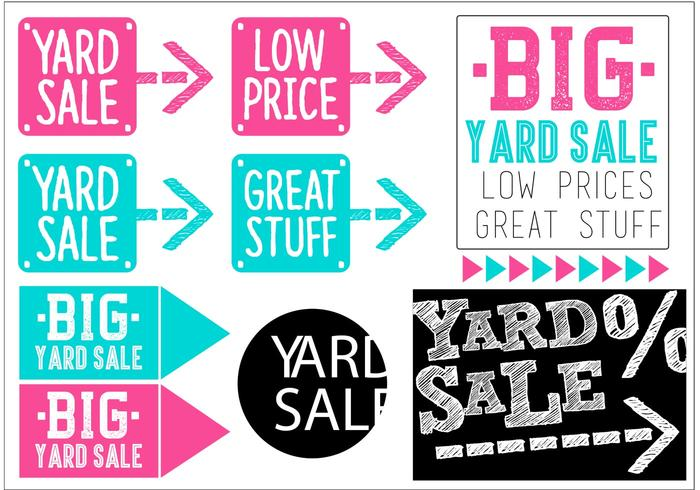 Yard Sale Vector Banner Set
