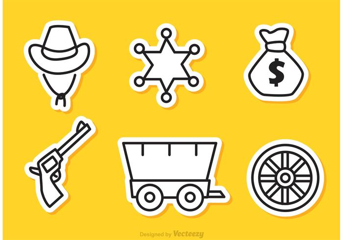 Wild West Outline Icons Vector