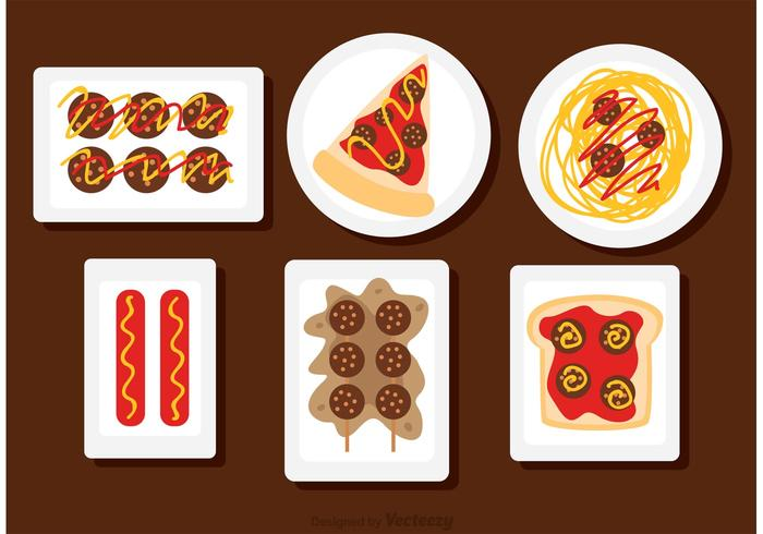 Food On The Plate Vectors