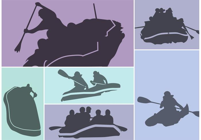 River Rafting Silhouette Vector Set