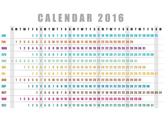 Weekly Calendar Horizontal : Horizontal calendar vector download free art