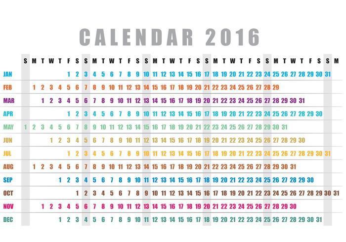 Year Calendar Horizontal : Horizontal calendar vector download free art