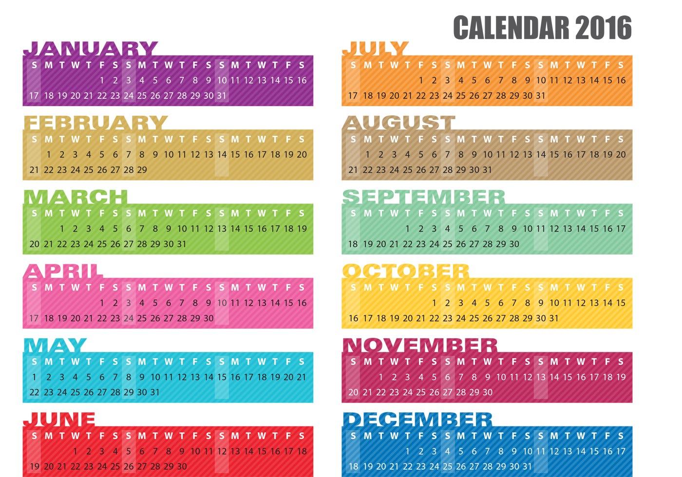 calendar banner vectors 2016