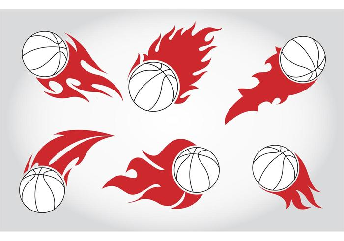Basket Ball on Fire Vectors