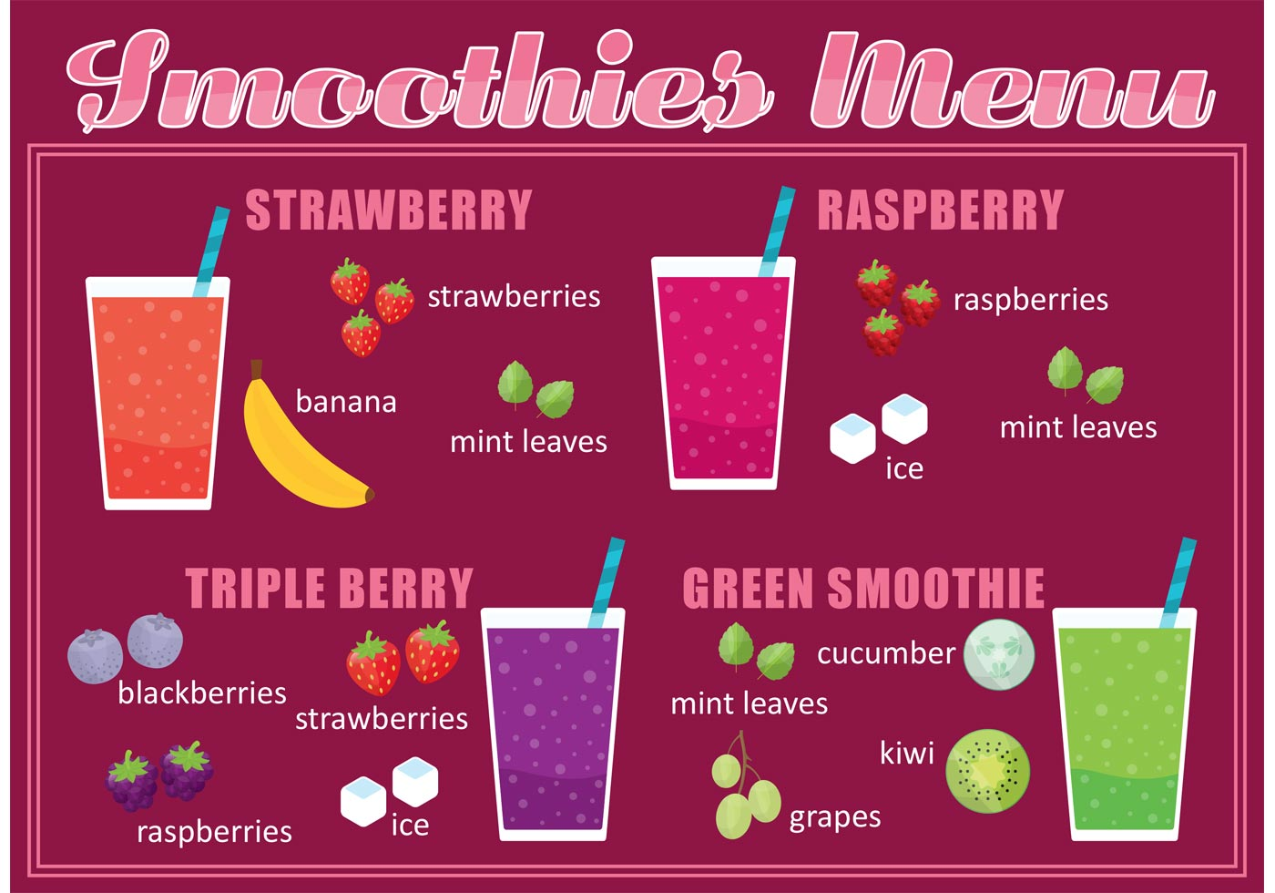 smoothie menu vector download free vector art stock