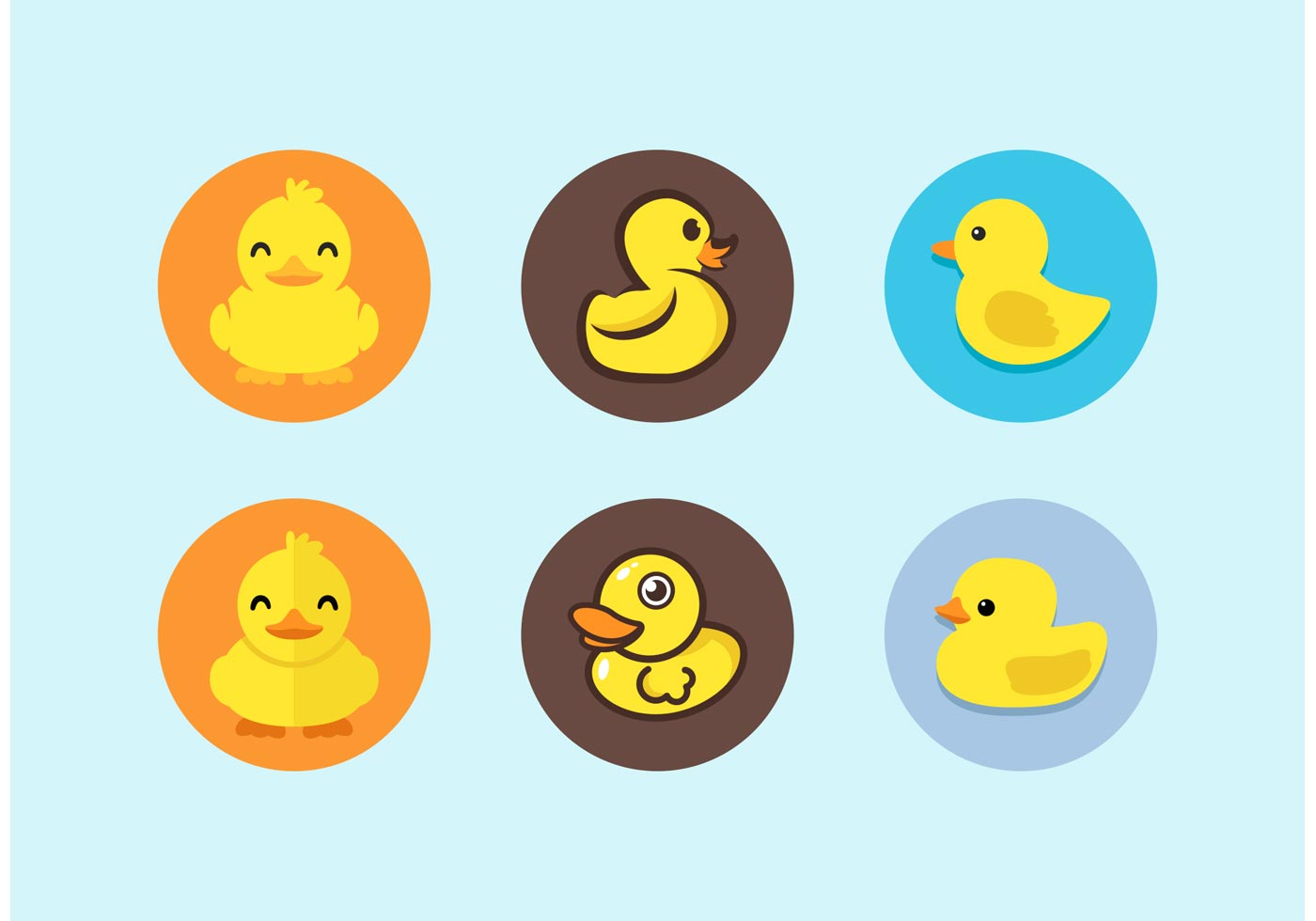 Cute rubber duck icons set download free vector art