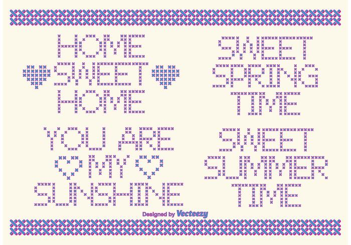 Cross Stitch Vector Style Text Labels